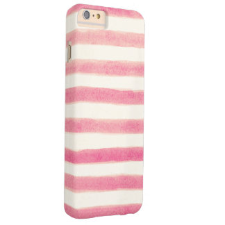 Painted Retro Pink Stripes Girly Barely There iPhone 6 Plus Case
