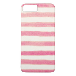 Painted Retro Pink Stripes Girly iPhone 7 Plus Case