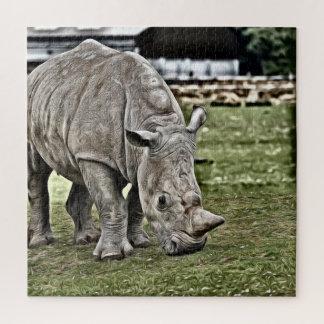 Painted Rhino Jigsaw Puzzle