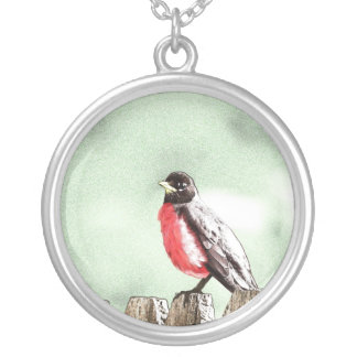 Painted Robin Necklace