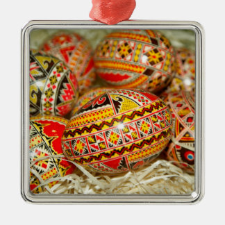 Painted Romanian Easter Eggs Metal Ornament