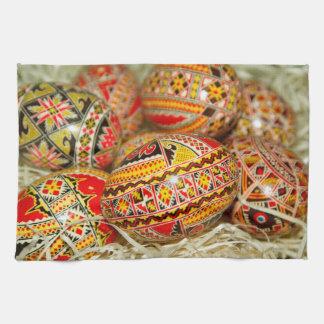 Painted Romanian Easter Eggs Tea Towel