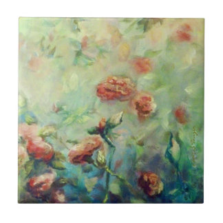 Painted Roses ceramic tile