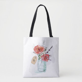 Painted Roses in Mason Jar Floral Monogram Tote Bag