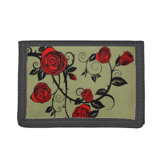 Painted Roses Trifold Wallets