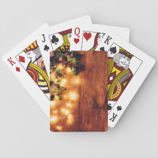 Painted Rustic Christmas - Wood with Holly Trim Playing Cards