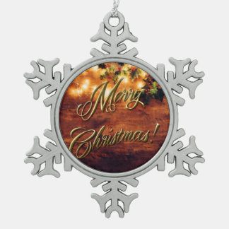 Painted Rustic Christmas - Wood with Holly Trim Snowflake Pewter Christmas Ornament