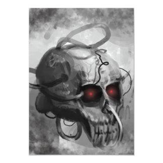 Painted sci-fi skull invitation