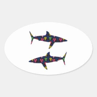 PAINTED SHARK fish danger kids navinJOSHI NVN99 Oval Sticker