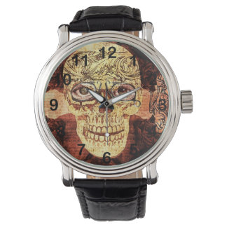 painted shugar skull - steampunk watch