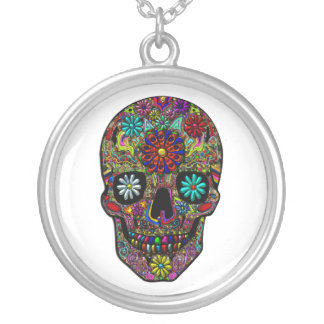 Painted Skull Floral Art Round Pendant Necklace