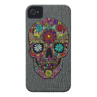 Painted Skull Floral Art on Faux Shark Skin Case-Mate iPhone 4 Case
