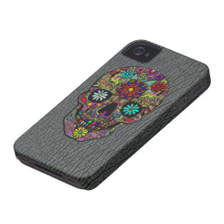 Painted Skull Floral Art on Faux Shark Skin iPhone 4 Covers