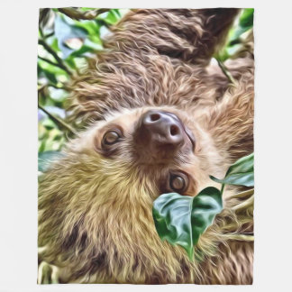 painted Sloth Fleece Blanket