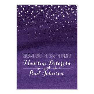 Painted star night sky starry wedding invitation
