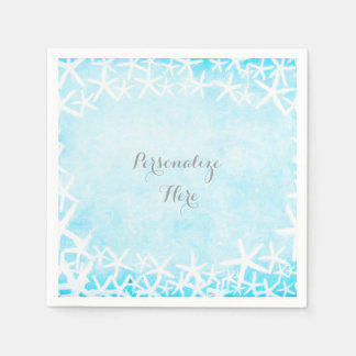 Painted Starfish Aqua Blue Custom Party Paper Napkins