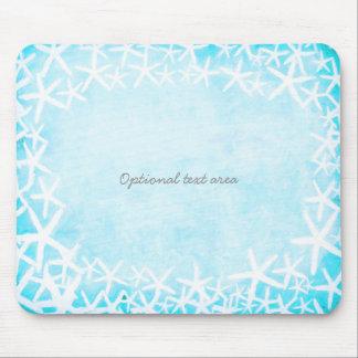 Painted Starfish Aqua Blue Tropical Beach Custom Mouse Pad