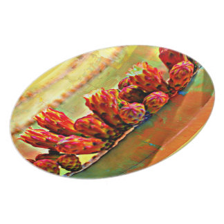 Painted Stove Pipe Cactus Melamine Plate
