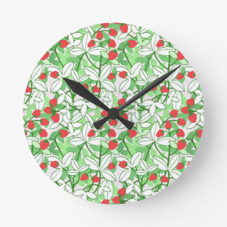 Painted Strawberry Pattern Clocks