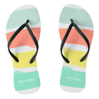 Painted Summer Stripes Sunwashed Neon Thongs