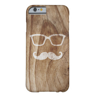 Painted Sunglasses and Moustache on Wood Barely There iPhone 6 Case