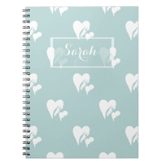 Painted Sweet Hearts | Sky Blue Pattern Gift Spiral Notebook