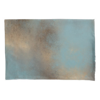 Painted Teal-Blue, Gold and Brown | Pillowcase
