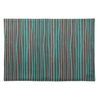 Painted Teal Stripes on Dark Brown Place Mats