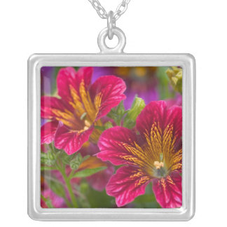 Painted tongue close-ups of their blooms - square pendant necklace