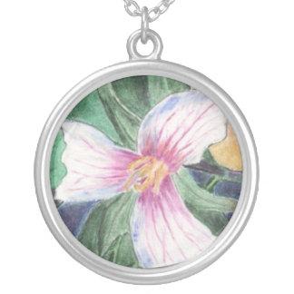 Painted Trillium Round Pendant Necklace