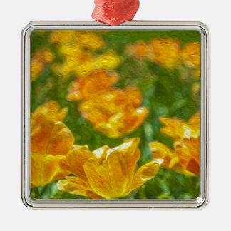 Painted Tulips Silver-Colored Square Decoration
