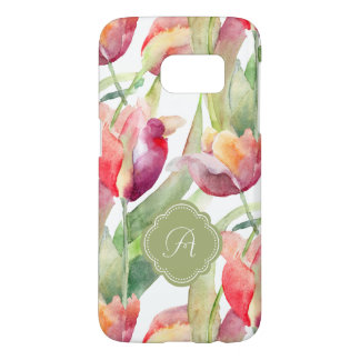 Painted Tulips Watercolor Floral with Monogram
