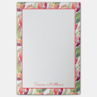 Painted Tulips Watercolor Floral with Your Name Post-it Notes