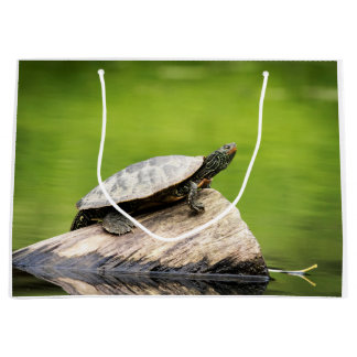 Painted Turtle on a log Large Gift Bag