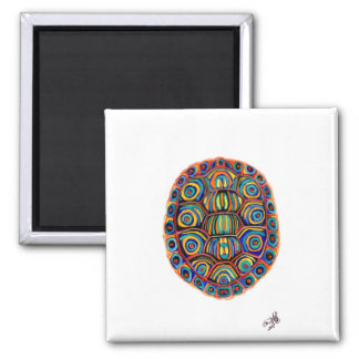 Painted Turtle Shell Square Magnet
