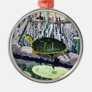 Painted Turtle Silver-Colored Round Decoration