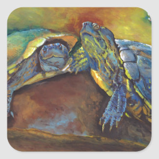 Painted Turtles Square Sticker
