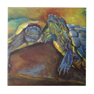 Painted Turtles Ceramic Tiles
