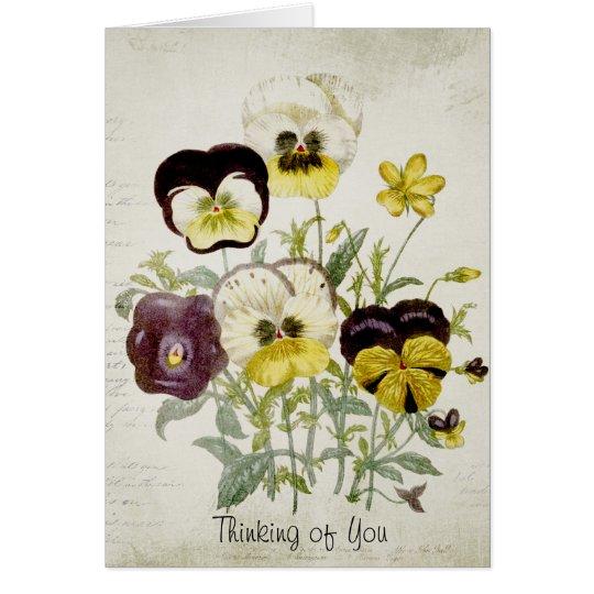Painted Vintage Flower Bouquet Script 1 Card
