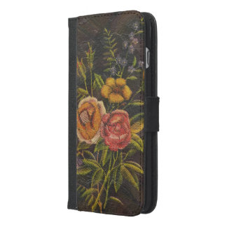 Painted Vintage Flowers Rose iPhone 6/6s Plus Wallet Case