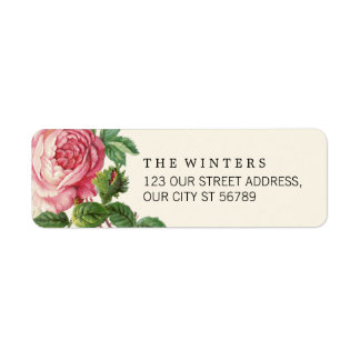 Painted Vintage Rose Boho Wedding Return Address Label