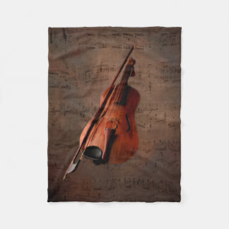 Painted Vintage Violin Fleece Blanket