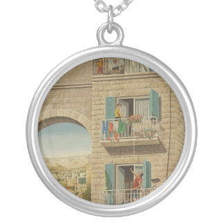 Painted wall of a house in Jerusalem Round Pendant Necklace