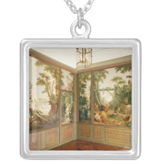 Painted wall panels in the Salon of Gille Silver Plated Necklace