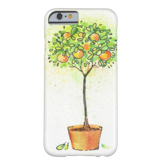 Painted watercolor citrus tree in pot barely there iPhone 6 case
