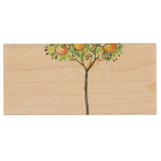 Painted watercolor citrus tree in pot wood USB 2.0 flash drive