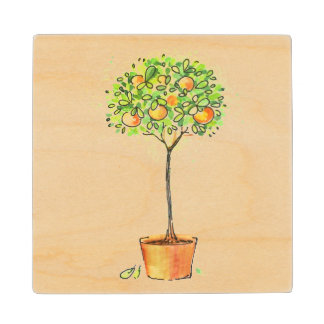 Painted watercolor citrus tree in pot maple wood coaster