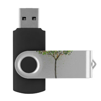Painted watercolor citrus tree in pot swivel USB 2.0 flash drive