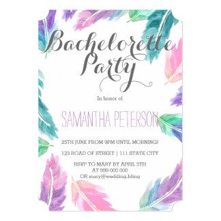 Painted watercolor feathers bachelorette party 13 cm x 18 cm invitation card