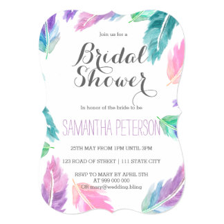 Painted watercolor feathers bridal shower card